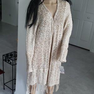 Jolt fringed long cardigan NWT XL